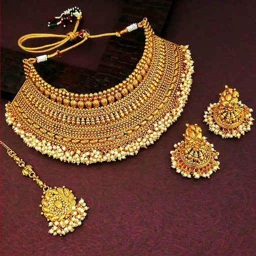Sai Raj White Pearl Copper Necklace Set With Maang Tikka