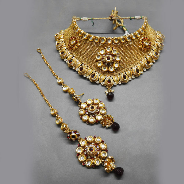 Sai Raj Stone Kundan Copper Necklace Set