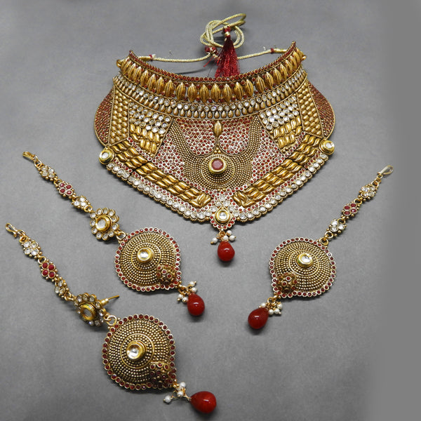 Sai Raj Kundan Stone Copper Necklace Set With Maang Tikka