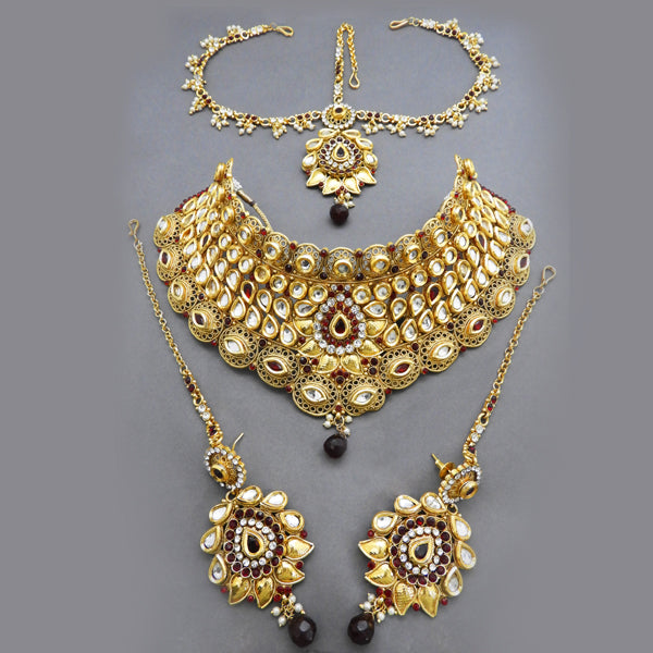 Sai Raj Kundan Copper Double Necklace Set With Maang Tikka