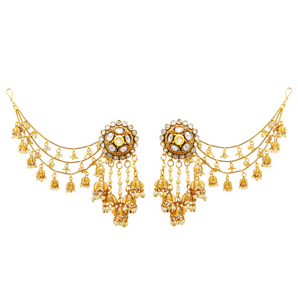 Sai Raj Kundan Pearl Devsena Kanchain Copper Earrings