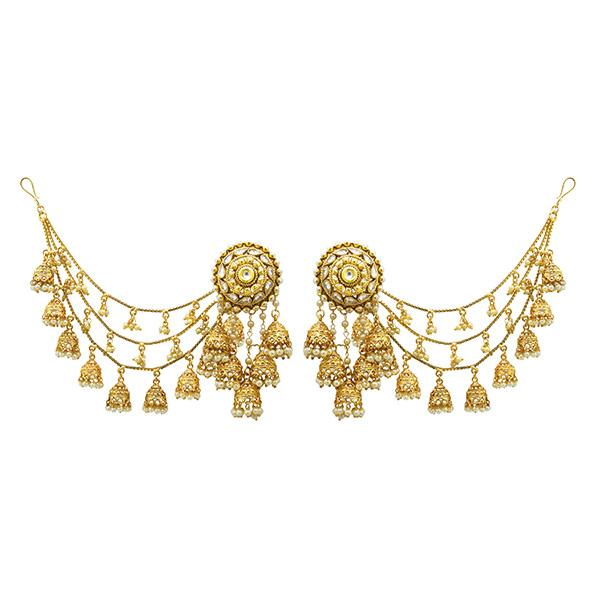 Sai Raj AD Stone Copper Three Line Pearl Kan Chain Earrings - FAP0114