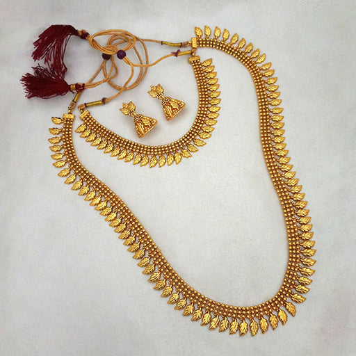 Sai Raj Leaf Design Double Copper Necklace Set