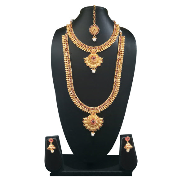 Sai Raj Stone Copper Double Necklace Set With Maang Tikka