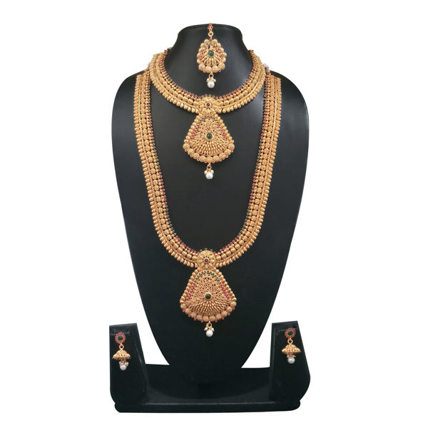 Sai Raj Stone Double Copper Necklace Set With Maang Tikka