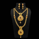 Sai Raj Pota Stone Gold Plated Double Necklace Set