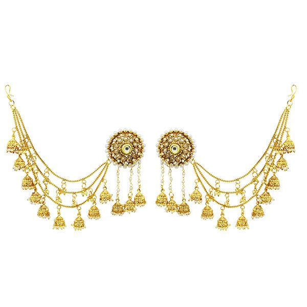 Sai Raj AD Stone Copper Three Line Pearl Kan Chain Earrings - FAP0126