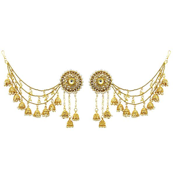 Sai Raj AD Stone Copper Three Line Pearl Kan Chain Earrings - FAP0127