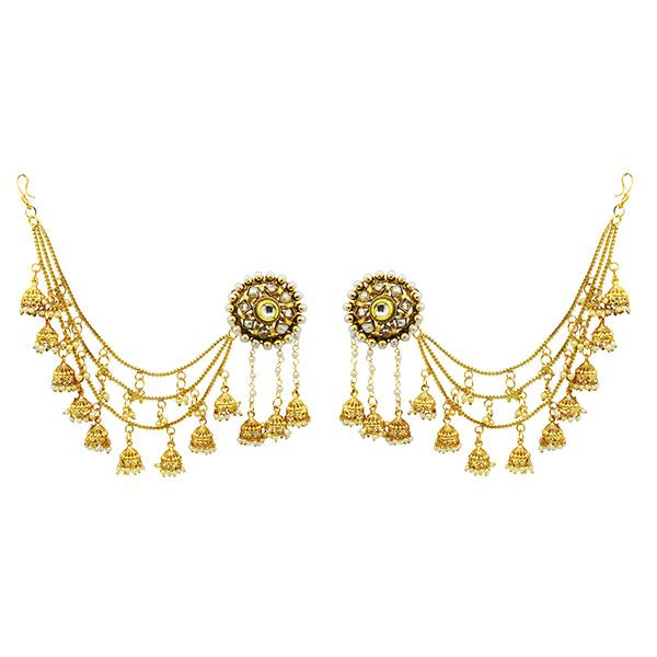 Sai Raj AD Stone Copper Three Line Pearl Kan Chain Earrings - FAP0128