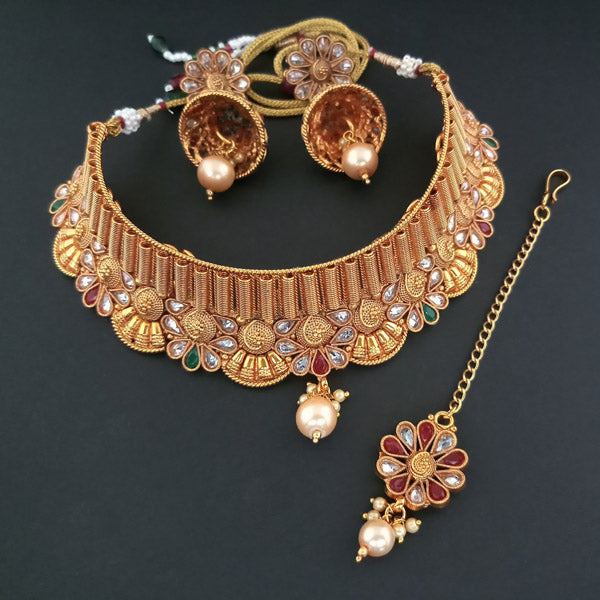 Sai Raj AD Stone Choker Copper Necklace Set With Maang Tikka
