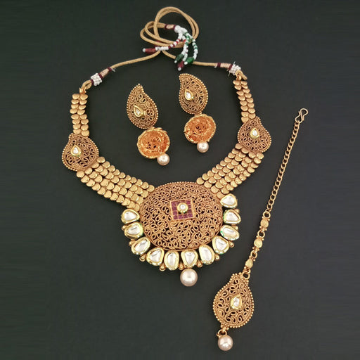 Sai Raj AD Stone Copper Necklace Set With Maang Tikka