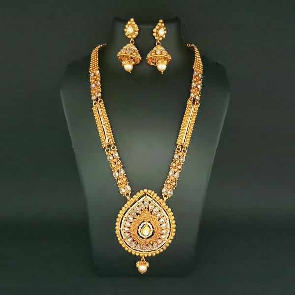 Sai Raj White AD Stone Copper Necklace Set