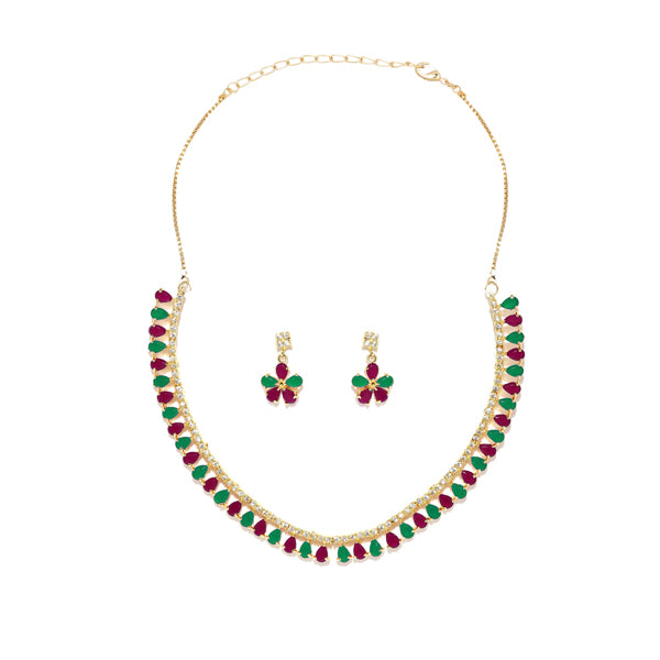 Sai Raj Gold Plated Green AD Stone Necklace Set