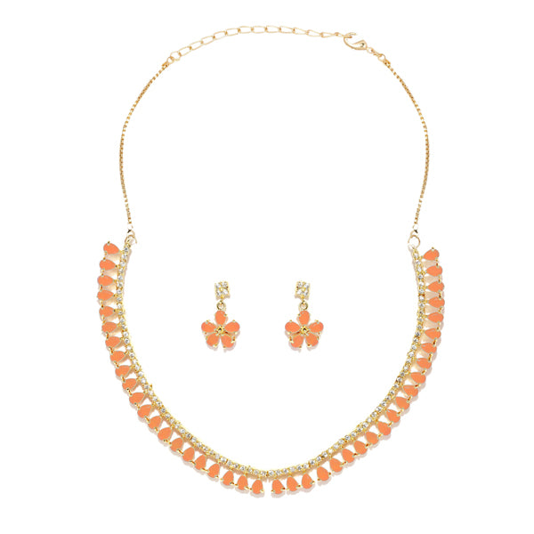Sai Raj Gold Plated Peach AD Stone Necklace Set