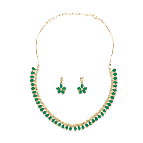 Sai Raj Green AD Stone Gold Plated Necklace Set