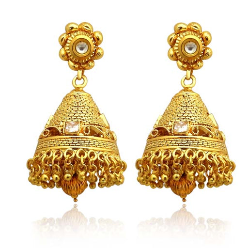 Sai Raj AD Stone Copper Jhumki Earrings