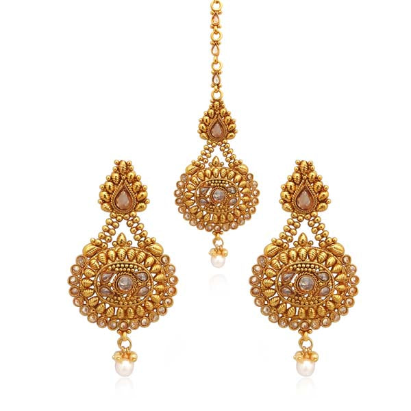 Sai Raj AD Stone Copper Dangler Earrings