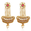 Sai Raj AD Stone Pearl Copper Dangler Earrings
