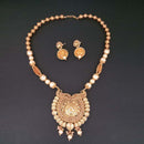 Sai Raj AD Stone Pearl Copper Necklace Set