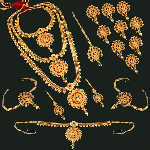 Sai Raj Pota Stone Copper Bridal Jewellery Set