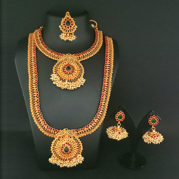 Sai Raj AD Stone Double Copper Necklace Set With Maang Tikka