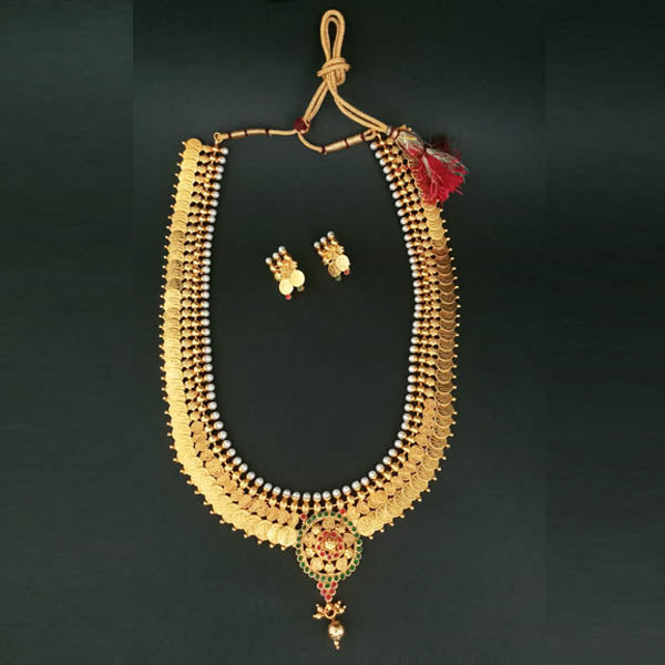Sai Raj Pota Stone Temple Coin Necklace Set