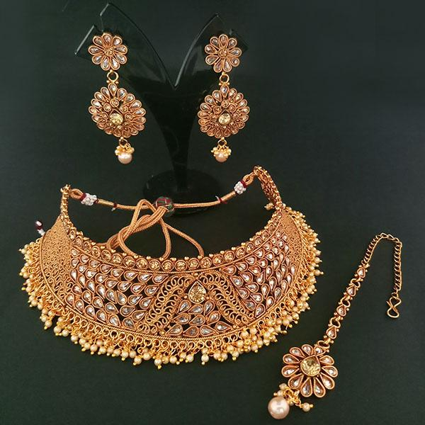 Sai Raj AD Stone Choker Copper Necklace Set With Maang Tikka - FAP0223