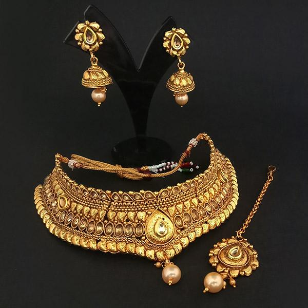 Sai Raj AD Stone Copper Necklace Set With Maang Tikka - FAP0237