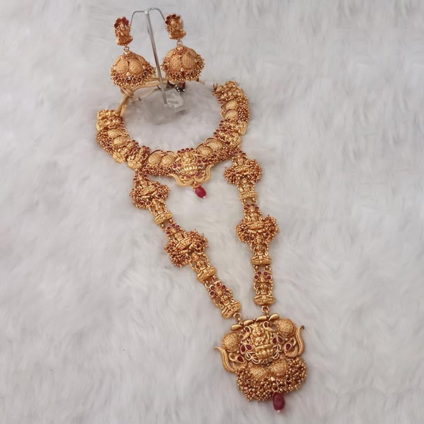 Sai Raj Maroon Stone Double Copper Necklace Set