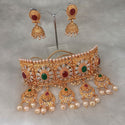 Sai Raj Pearl AD Stone Choker Necklace Set