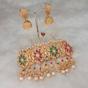 Sai Raj AD Stone Pearl Choker Copper Necklace Set