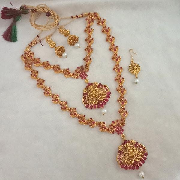 Native Haat Maroon Stone Double Gold Plated Necklace Set - NFAP0270