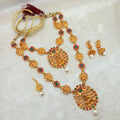 Sai Raj Maroon Stone Double Gold Plated Necklace Set
