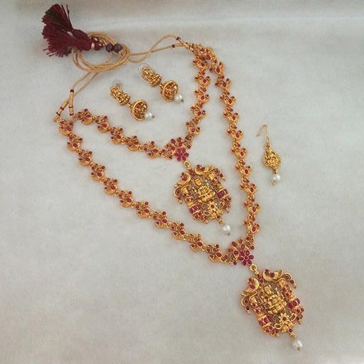 Sai Raj Maroon Stone Gold Plated Double Necklace Set