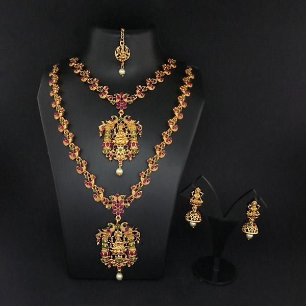 Sai Raj Double Gold Plated Multi Stones Necklace Set -FAP0273A