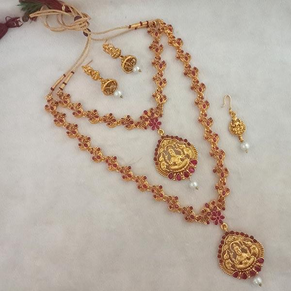 Native Haat Maroon Stone Double Gold Plated Necklace Set - NFAP0274