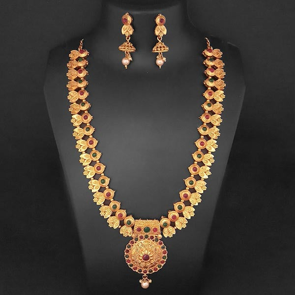 Sai Raj Maroon And Green Pota Stone Necklace Set