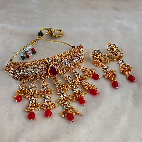 Sai Raj Designer Red Gold Plated Choker Necklace Set -FAP0282A