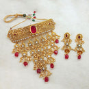 Sai Raj Maroon AD Stone Choker Copper Necklace Set