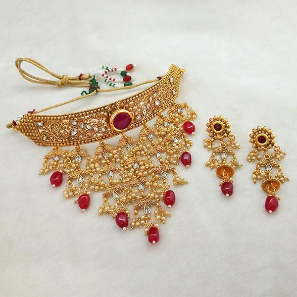 Sai Raj Maroon AD Stone Choker Copper Necklace Set -FAP0285A - L