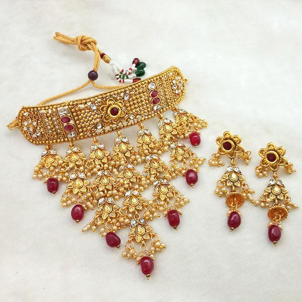 Sai Raj Maroon AD Stone Choker Copper Necklace Set -FAP0286A - L