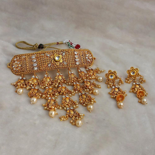 Sai Raj Designer Kundan Gold Plated Pearl Choker Necklace Set -FAP0286D