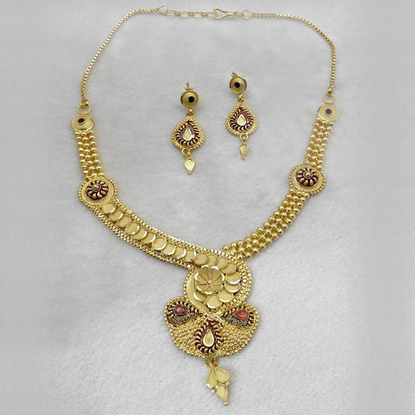 Neu Gold Forming Gold Plated Copper Floral Necklace Set