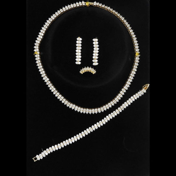 Romance Brass Cubic Zirconia Necklace Set With Bracelet