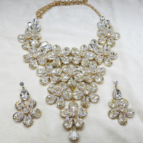 Yoona White AAA Crystal Gold Plated Necklace Set