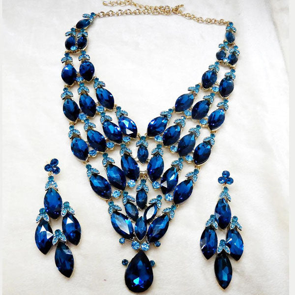 Yoona Alloy Blue AAA Crystal Stone Necklace Set