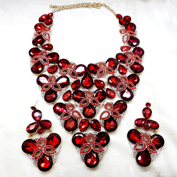 Yoona Gold Plated Red AAA Crystal Necklace Set