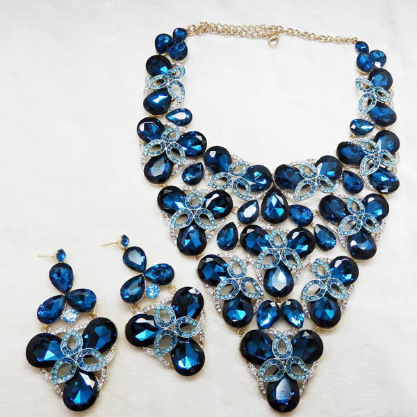 Yoona Blue AAA Crystal Stone Necklace Set