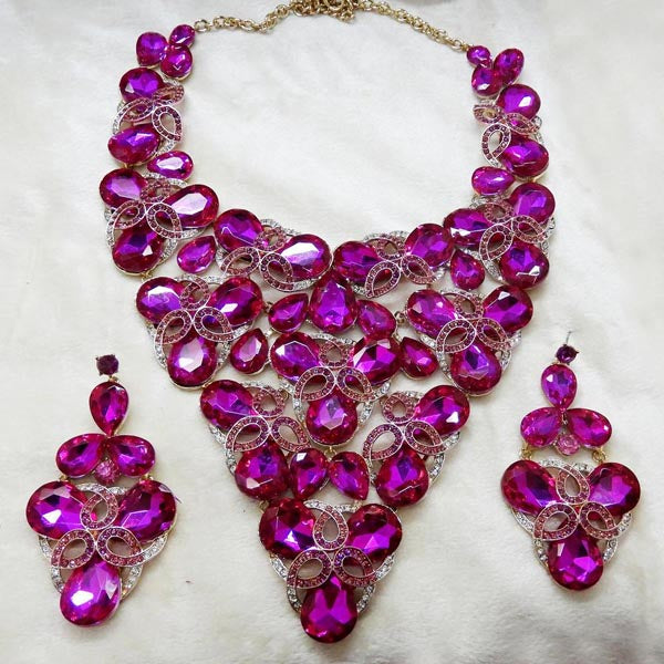 Yoona Purple AAA Crystal Stone Necklace Set