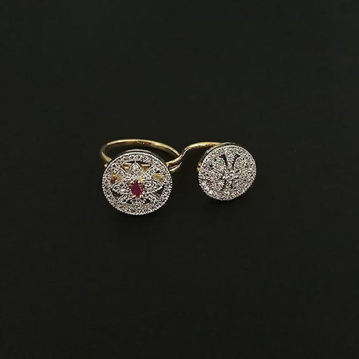 Labono Art Gold Plated Pink Ruby Stone Double Ring